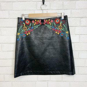 For the Republic, Vegan Leather, Embroidered Skirt